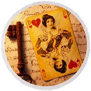 Old Playing Card And Key Round Beach Towel