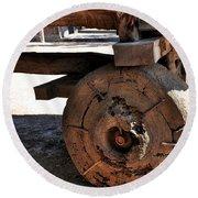 Old Timber Wheel Round Beach Towel