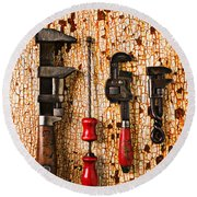 Old Tools On Rusty Counter  Round Beach Towel