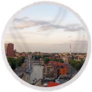 Old Town Klaipeda. Lithuania. Round Beach Towel