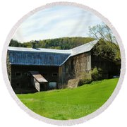 Round Beach Towel featuring the photograph Old Vermont Barn by Sherman Perry