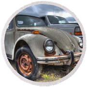 Old Vw Beetle Round Beach Towel