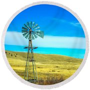 Round Beach Towel featuring the photograph Old Windmill by Shannon Harrington