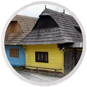 Round Beach Towel featuring the photograph Old Wooden Homes by Les Palenik