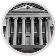 Ole Miss Lyceum Black And White Round Beach Towel