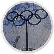 Olympic Stadium Montreal Round Beach Towel