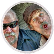 On A Napanee Stoop One Day Round Beach Towel