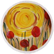 Round Beach Towel featuring the painting On A Sunny Island by Mary Carol Williams