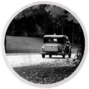 Round Beach Towel featuring the photograph On The Road Again by Kay Novy