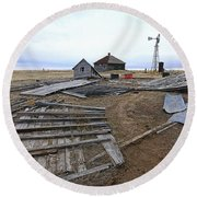 Round Beach Towel featuring the photograph Once There Was A Farm by James Steele