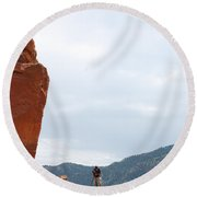Only A Photographer Would Do.. Round Beach Towel by Randy J Heath