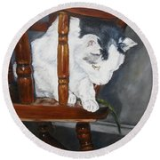 Round Beach Towel featuring the painting Oops by Lori Brackett