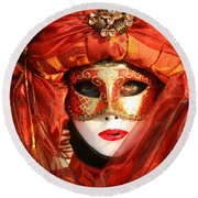 Orange Arab Portrait Round Beach Towel