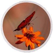 Orange Butterfly Orange Flower Round Beach Towel