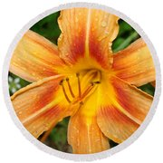 Orange Iris Round Beach Towel