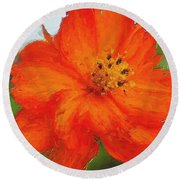 Orange Round Beach Towel