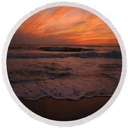Orange To The End Round Beach Towel