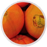 Oranges Round Beach Towel by Bill Owen