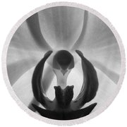 Round Beach Towel featuring the photograph Orchid Heart by Kume Bryant