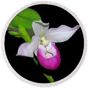 Orchid Slipper Round Beach Towel