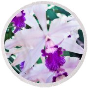 Round Beach Towel featuring the photograph Orchids White And Purple by Steven Sparks