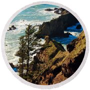 Round Beach Towel featuring the photograph Oregon Coast by Athena Mckinzie