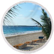 Round Beach Towel featuring the photograph Orient Beach St Maarten by Catie Canetti