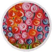 Original Modern Impasto Flowers Painting  Round Beach Towel