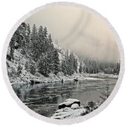 Orofino Snow Clearwater River Round Beach Towel