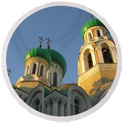 Orthodox Church Of Sts Michael And Constantine- Vilnius Lithuania Round Beach Towel by Ausra Huntington nee Paulauskaite