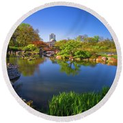 Osaka Garden Pond Round Beach Towel