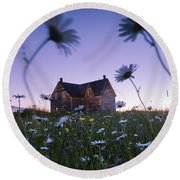 Oxeye Daisies And Abandoned House Round Beach Towel