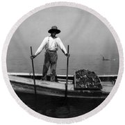 Oyster Fishing On The Chesapeake Bay - Maryland - C 1905 Round Beach Towel by International  Images