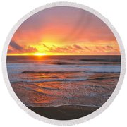 Pacific Sunset Round Beach Towel by Eric Tressler
