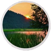 Round Beach Towel featuring the photograph Pack River Delta Sunset 2 by Albert Seger