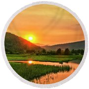 Round Beach Towel featuring the photograph Pack River Delta Sunset by Albert Seger