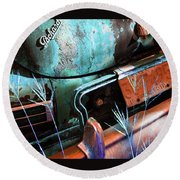 Packard On Ice Round Beach Towel