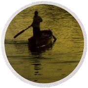 Round Beach Towel featuring the photograph Paddle Boy by Lydia Holly