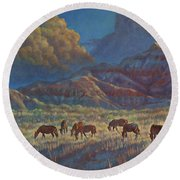 Round Beach Towel featuring the painting Painted Desert Painted Horses by Rob Corsetti
