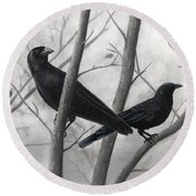 Pair Of Crows Round Beach Towel