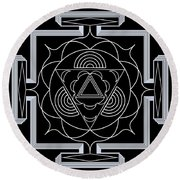 Round Beach Towel featuring the digital art Palace Hypnosis by Mario Carini