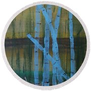 Pale Blue Moon Round Beach Towel