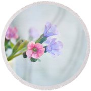 Pale Pink And Purple Pulmonaria Flowers Round Beach Towel