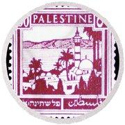 Palestine Vintage Postage Stamp Round Beach Towel by Andy Prendy