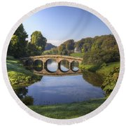 Palladian Bridge At Stourhead. Round Beach Towel