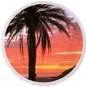 Palm Tree And Dawn Sky Round Beach Towel