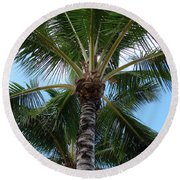 Round Beach Towel featuring the photograph Palm Tree Umbrella by Athena Mckinzie