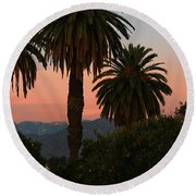 Palm Trees And Orange Trees Round Beach Towel