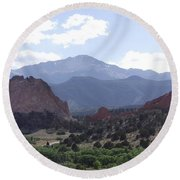 Panoramic Garden Of The Gods Round Beach Towel