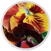 Pansies Round Beach Towel